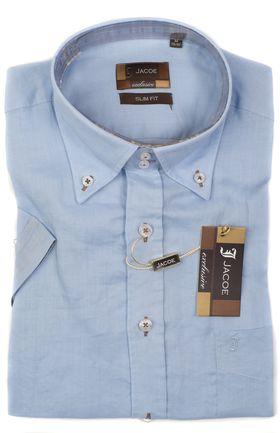 100207JМК Голубая мужская рубашка приталенная Jacoe
