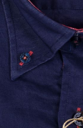 100245JМК Темно-синяя мужская рубашка приталенная Jacoe