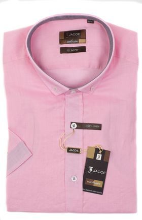 100283JМК Розовая мужская рубашка приталенная Jacoe