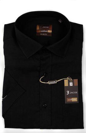 100337JМК Черная мужская рубашка приталенная Jacoe