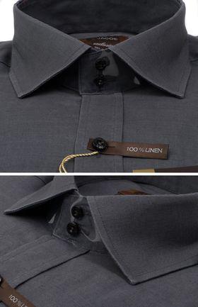 100382JМК Серая мужская рубашка приталенная Jacoe