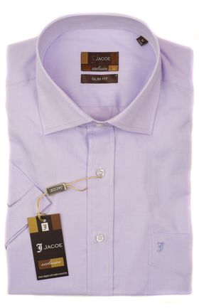 100443JМК Сиреневая мужская рубашка приталенная Jacoe