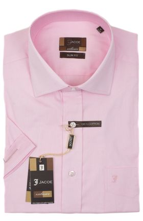100498JМК Розовая мужская рубашка приталенная Jacoe