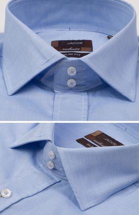 100528JМК Голубая мужская рубашка приталенная Jacoe