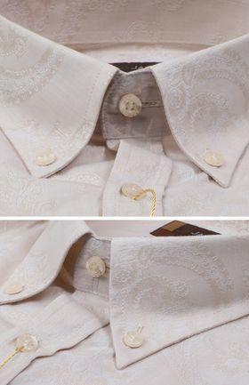 102099JМК Мужская рубашка кремового цвета приталенная Jacoe