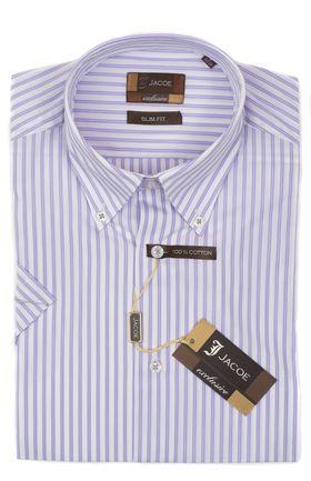 102129JМК Мужская рубашка в сиреневую полоску приталенная Jacoe