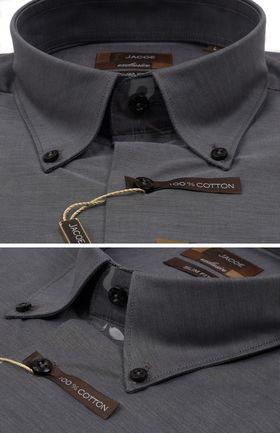 102204JМК Темно-серая мужская рубашка приталенная Jacoe