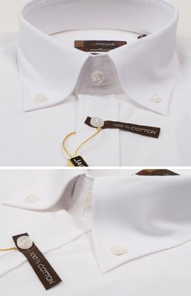 100542JМК Белая мужская рубашка приталенная Jacoe