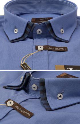 103188JМК Синяя мужская рубашка приталенная Jacoe