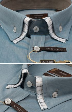 103195JМК Темно-бирюзовая мужская рубашка приталенная Jacoe