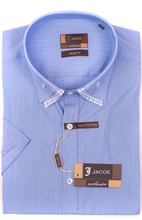 103201JМК Голубая мужская рубашка приталенная Jacoe