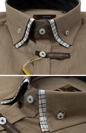 103218JМК Коричневая мужская рубашка приталенная Jacoe