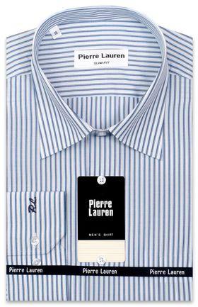 Приталенная белая мужская рубашка в синюю полоску