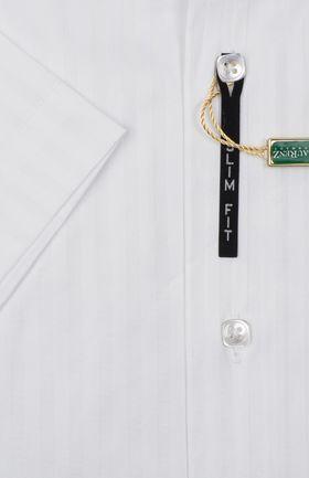 900016LМК Белая мужская рубашка в полоску приталенная LauRenZ