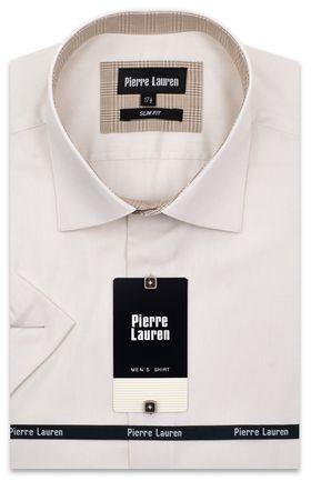 расивая мужская рубашка с коротким рукавом в кремового цвета