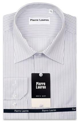 Мужская рубашка белого цвета в серую полоску Classic