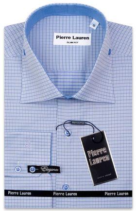 Мужская рубашка Elegance полуприталенного кроя Slim Fit в голубую клетку с подкроем