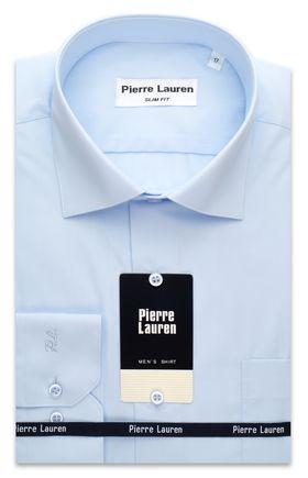 Однотонная мужская рубашка Slim Fit (полуприталенная) голубого цвета