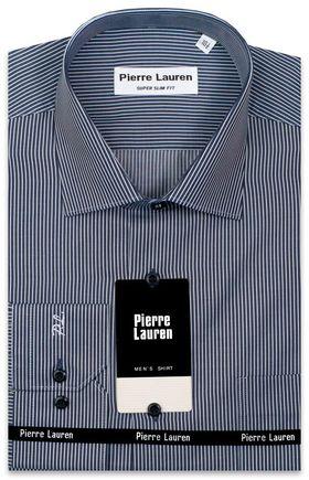 Мужская рубашка темно-синего цвета в белую полоску