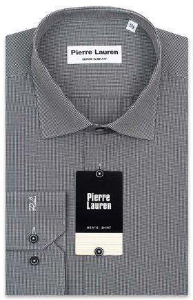 Мужская рубашка серого цвета из ткани с геометрическим узором,