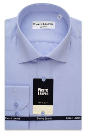 Приталенная классическая мужская рубашка однотонного голубого цвета