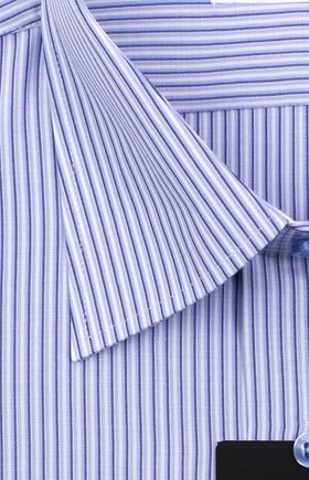 Классическая мужская рубашка с длинным рукавом в сиреневую полоску