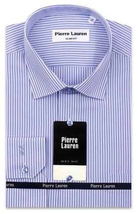 Приталенная классическая мужская рубашка в синюю полоску