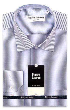 Приталенная классическая мужская рубашка в ярко-синюю полоску