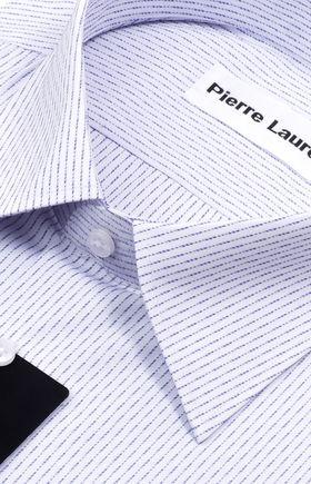 Оригинальная мужская рубашка с длинным рукавом белого цвета в синюю структурную полоску