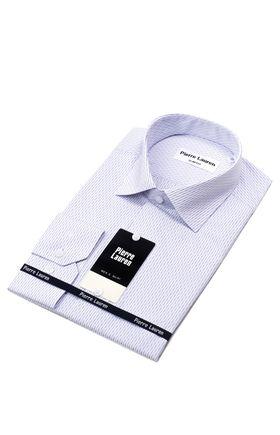 Приталенная классическая мужская рубашка в структурную синюю полоску