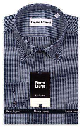 Оригинальная мужская рубашка с длинным рукавом темно-синего цвета в структурную полоску