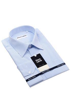 Базовая мужская рубашка в светлую голубую полоску