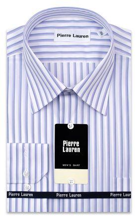 Красивая мужская рубашка белого цвета в голубую полоску