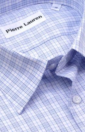 Классическая прямая мужская рубашка в голубую клетку с коротким рукавом