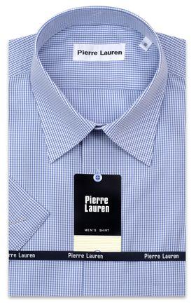 Классическая прямая мужская рубашка в синюю клетку с коротким рукавом