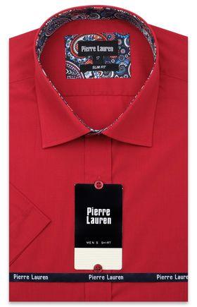 Однотонная красная мужская рубашка с коротким рукавом