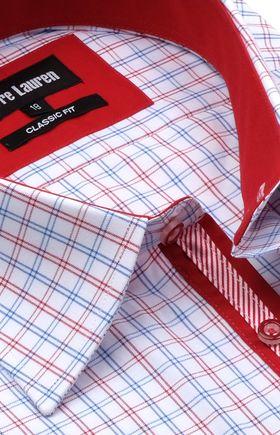 Классическая прямая мужская рубашка в красно-синюю клетку с коротким рукавом
