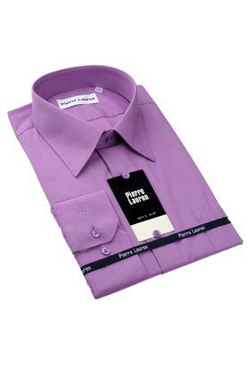Однотонная фиолетовая мужская рубашка прямого покроя
