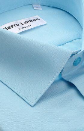 Однотонная бирюзовая мужская рубашка из структурной ткани