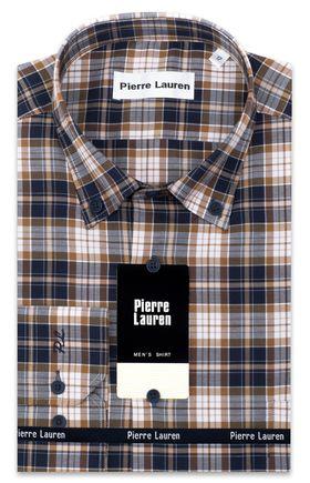 Классическая мужская рубашка с длинным рукавом в сине-коричневую