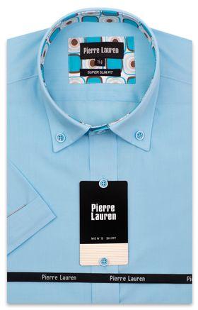 Мужская рубашка с коротким рукавом бирюзового цвета