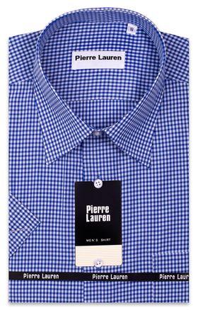 Мужская рубашка с коротким рукавом в ярко-синюю клетку