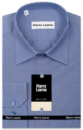 Классическая синяя мужская рубашка с длинным рукавом в светлую полоску с узором