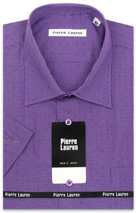 Классическая (прямая) мужская рубашка в клетку с коротким рукавом (Classic)
