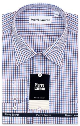 Приталенная классическая мужская рубашка в синюю и бордовую клетку