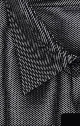 Серая мужская рубашка с длинным рукавом из ткани с геометрическим узором