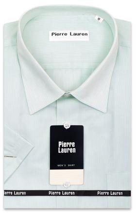 Классическая (прямая) мужская рубашка салатового цвета с коротким рукавом