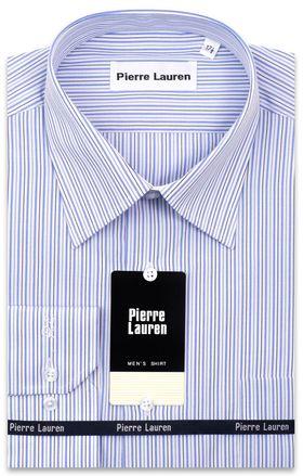 Мужская рубашка с длинным рукавом в голубую полоску прямого покроя