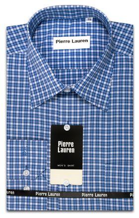 Классическая мужская рубашка Slim Fit (полуприталенная) в синюю клетку