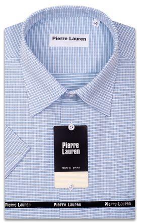 Приталенная мужская рубашка в голубую клетку с коротким рукавом